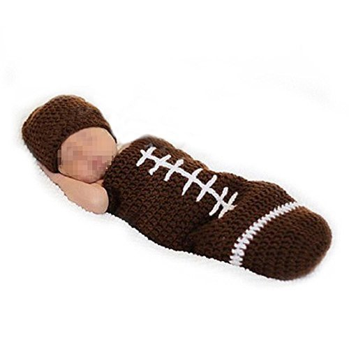Knit Rugby - Tenflyer Rugby Handmade Crochet Knit Cap Infant Newborn Baby Photo Props Outfit Costume Set