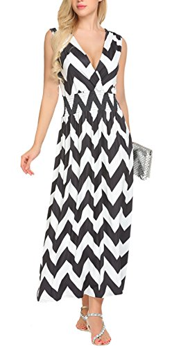SimpleFun Womens Summer Boho Floral Print Wrap V-Neck Sleeveless Long Maxi Dress with Pockets