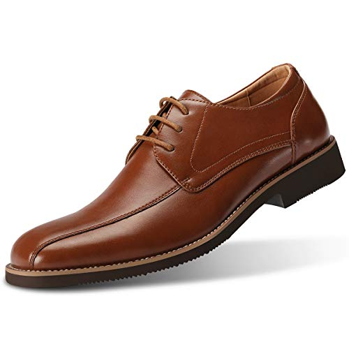 GM GOLAIMAN Men's Formal Derby Dress Shoes Lace Up Oxfords Stylish Bicycle-Toe Bluchers Brown 10.5 - Lace Up Leather Dress
