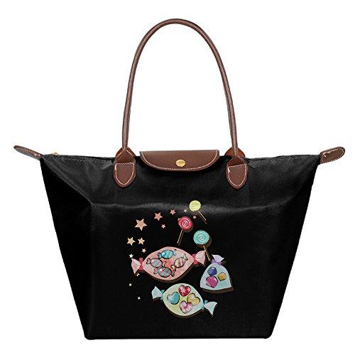 Ladies Candy Large Tote Bags,Multifunction Waterproof Shoulder Handbags With (Halloween Space Miami)
