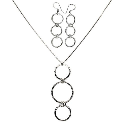 Sterling Silver Flat Hammered Circle 3 Links Dangle Necklace Adjustable Earrings 20