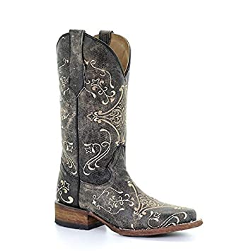 9cb03a7e35f Corral Circle G Women's Cognac/Brown Scroll Embroidery Designed Leather  Cowgirl Boots