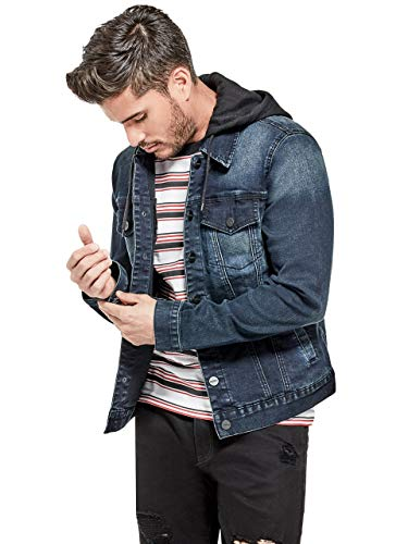 GUESS Factory Men's Vertix Hooded Super Stretch Denim -