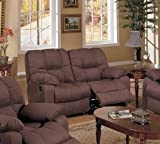 CHOCOLATE BROWN MICROFIBER MOTION RECLINER LOVESEAT BY POUNDEX