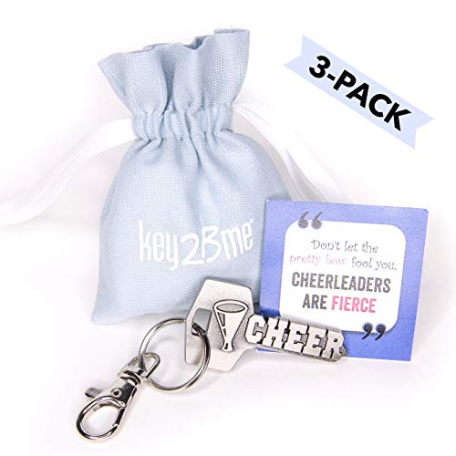 3-PACK key2Bme CHEER key - megaphone cheerleader keychain & inspirational quote - the cute cool fun unique small spirit cheerleading team gift under $10 for giving kid teens friends girls -