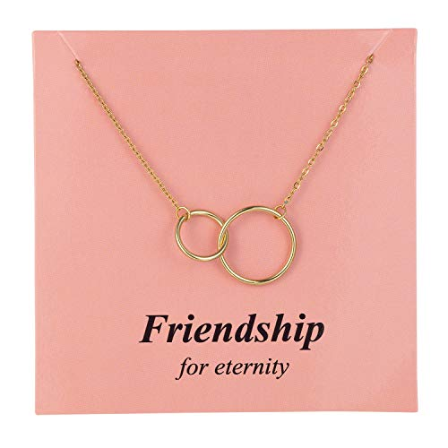 Augonfever Friendship Gifts Necklace Gold Double Link Rings Chain Necklace for Her BFF Best Friend Bestie