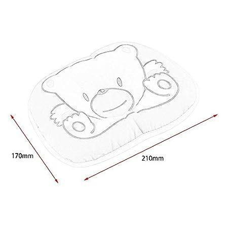 Precioso oso lindo patr/ón de dibujos animados almohada reci/én nacido beb/é apoyo almohada coj/ín previene la almohada de algod/ón de cabeza plana para beb/é