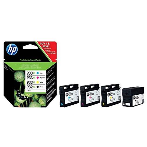 HP 932XL/933XL Combo Pack Negro, Cian, Amarillo - Cartucho de tinta para impresoras (Negro, Cian, Magenta, Amarillo,...