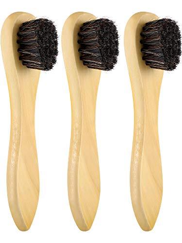 Jovitec 3 Pieces Horsehair Shoes Polish Brushes Care Clean Daubers Applicators (Set A)