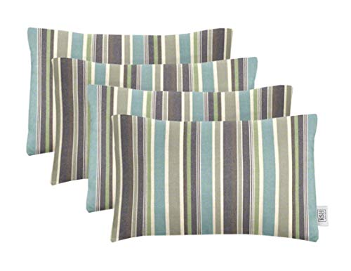 RSH Décor Set of 4 Indoor Outdoor Decorative Rectangle Lumbar Throw Pillows Sunbrella Brannon Whisper (20