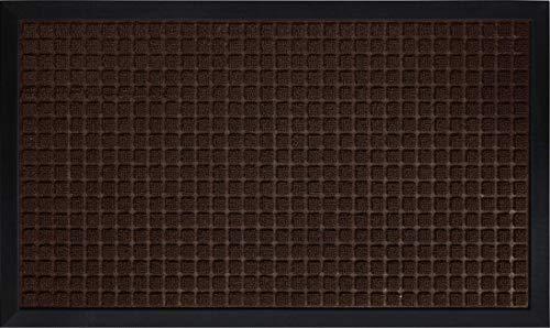 Gorilla Grip Original Durable Natural Rubber Door Mat, 29x17 Heavy Duty Doormat, Indoor Outdoor, Waterproof, Easy Clean Low-Profile Mats for Entry, Garage, Patio, High Traffic Areas, Coffee Squares