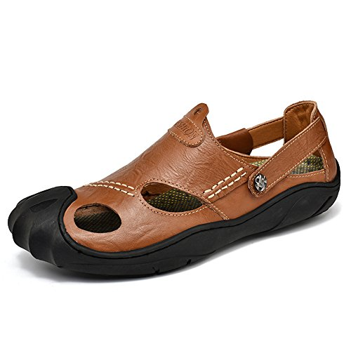 GOMNEAR Mens Leather Closed Toe Sandals Summer Slip-on Anti-Slip Slipper Fashion Beach Casual Walking Shoes Brown