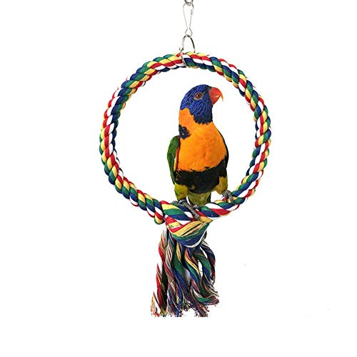 Bird Swing Perch Cotton Rope Ring Toy for Parrot Budgie Parakeet Cockatiel Conure Lovebird Finch Canary Cockatoo African Grey Macaw Eclectus Amazon Cage Perch Stand