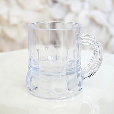 "Mini Clear Plastic Beer Mug Shot Glasses- 1.75"" Tall"