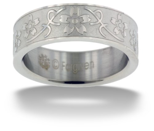 RTLW4 True Love Waits Text-Floral Vine Purity Band Stainless Steel Ring Size 7-Christian Jewelry (Love Vine Ring)