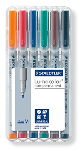 Staedtler Lumocolor Non-Permanent Overhead Projection Markers assorted colors medium 1.0 mm set of 6