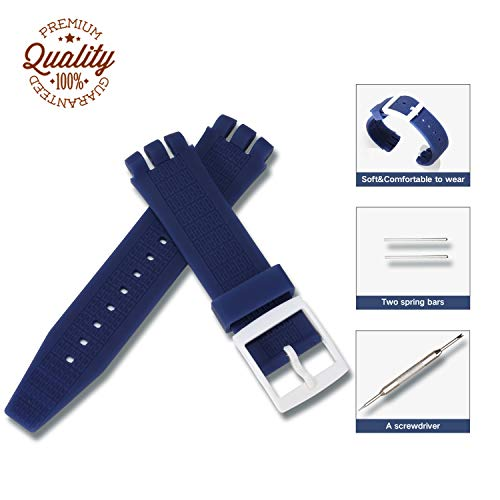 Silicone Rubber Watch Straps Bands Waterproof for Swatch,Compatible Lug Strap,Non-Slip Surface,Ultra-Thin, Accessories with a Screwdriver Two Spring Bars (Dark Blue, 22mm)