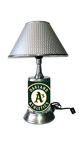 (JS Athletics Table Lamp with Chrome Shade, Your Favorite Team Plate Rolled in on The lamp Base, OA, MLB )