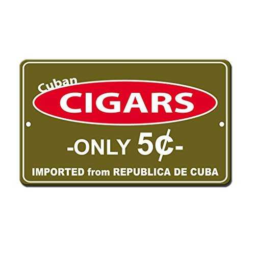 Iliogine Aluminum Tin Sign Cuban Cigars Only 5 Cents Plaque Sign for Yard Garage Driveway House - Vintage Cuban Magazine