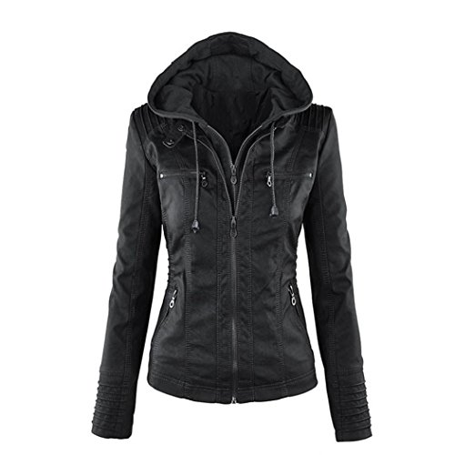 Sun Lorence Women Fashion Slim Fit Coat Removable Hoodie Faux Leather Jackets Black 2XL