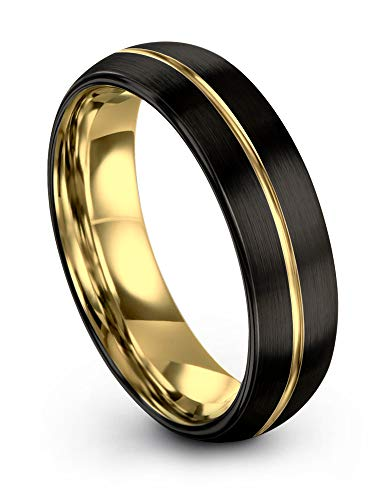 (Midnight Rose Collection Tungsten Wedding Band Ring 6mm for Men Women 18k Yellow Gold Plated Dome Center Line Black Brushed Polished Size 7.5)