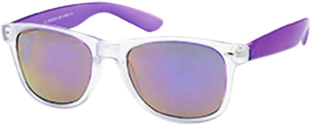 Sonnenbrille Wayfarer Nerd 400 UV verspiegelt bunt transparent schmal