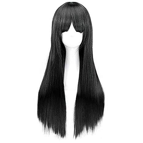 Peluca Negra Larga Lisa Pelo Natural Pelucas Mujer Pelo Natural Largo Con Flequillo 60cm: Amazon.es: Belleza