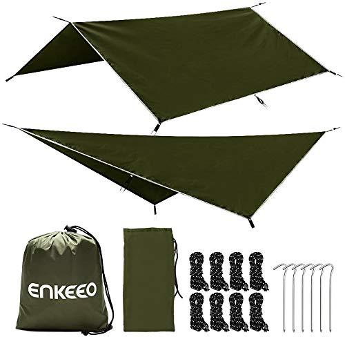 ENKEEO Camping Tarpaulin Shelter Tarp Anti UV Lightweight Rain Fly Waterproof Groundsheet for Hammock Tent Picnic with 6…