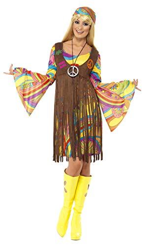 Smiffys Women's 1960's Groovy Lady Costume, Dress, Printed Waistcoat and Headband, 60's Groovy Baby, Serious Fun, Size 10-12, -