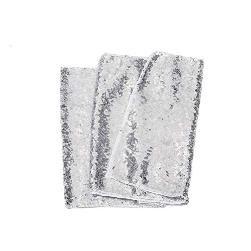 Meijuner 3MM Sequin Table Runners 14 Inch Width by 108 Inch Length Glitter Silver Table Runner Party Supplies Fabric Decorations for Wedding Birthday Baby -