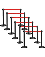 HayWHNKN 12Pcs Stanchion Posts Queue Sentry Stanchion Pole Post Crowd Control Barrier with Red Retractable Belt Black Stainless Steel Height 35inch