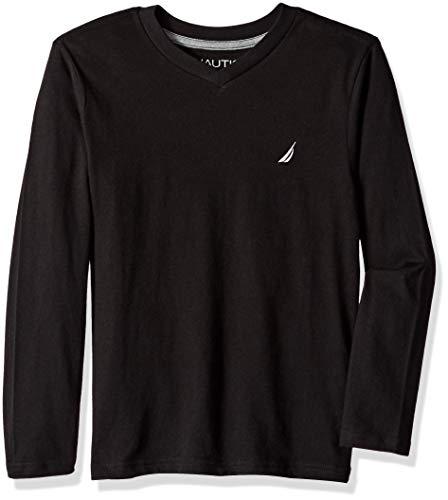 Nautica Boys' Big Long Sleeve V Neck Shirt, Parker Black, Medium ()