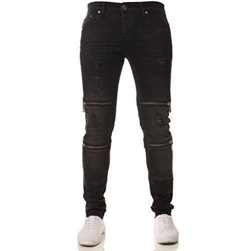 Herren ENZO Designer Markiert Gerippt Passform Modisch Beschichtetes Denim Shorts 28-48 - Schwarz/Blau, W30 x Regulär