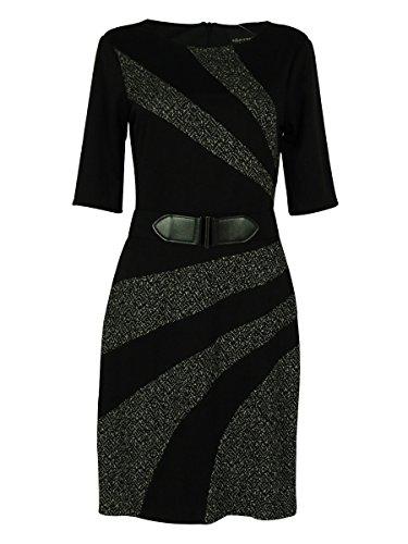 Connected Women's Elbow Sleeves Belted Tweed Trim Dress (16, Black) (Belted Tweed)