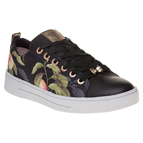 Ted Lace Up Sneakers (Ted Baker Womens Peach Blossom Black Ahfira Sneakers-UK 4)