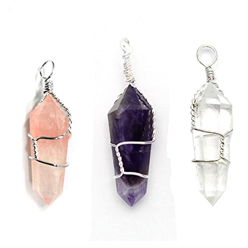 Polished Faceted Clear Quartz Crystal (3 Wire-wrapped Point Pendants Amethyst Rose Quartz Crystal Silver Tone Bail Rp Exclusive COA AM15B12-04)