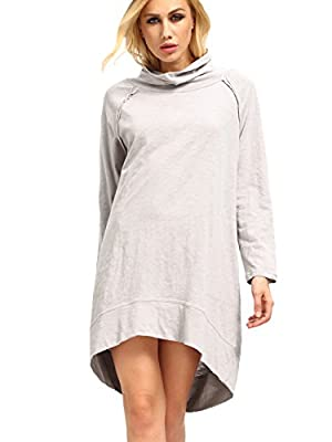 Milumia Women's Long Sleeve Pocket Casual Loose T-Shirt Dress