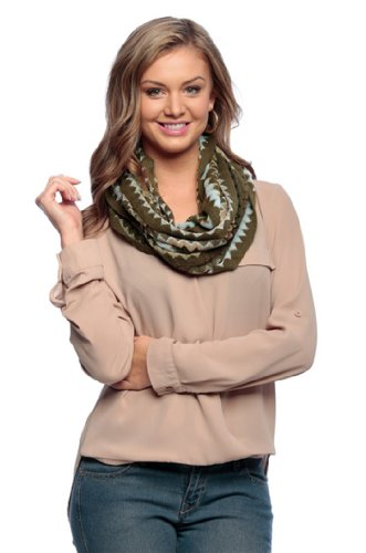 Peach Couture Knitted Chevron Multicolor Zigzag Infinity Loop Scarf Many Colors (One Size, Forest Green)