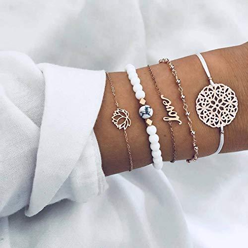 MMYUSL Bracelet 5 Pcs/Set Simple Beaded Alphabet Lotus Geometric Braid Bracelet Set Women Bohemian Retro Beach Jewelry Accessories