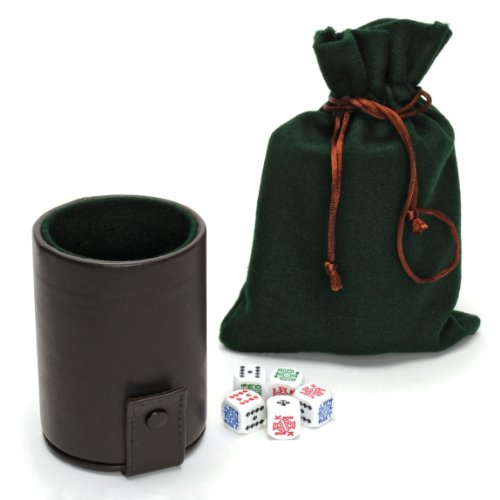 WE Games Luxury Brown Leather Dice Cup with Poker Dice and Storage by Wood Expressions