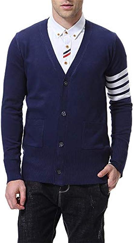 LULUVicky Męskie Basic Sweatshirt Jugend Męskie-Unterhemd V-Ausschnitt Cardigan Męskie Pullover Jacke Męskie gestrickte Jacke (Color : A, Size : L): Küche & Haushalt