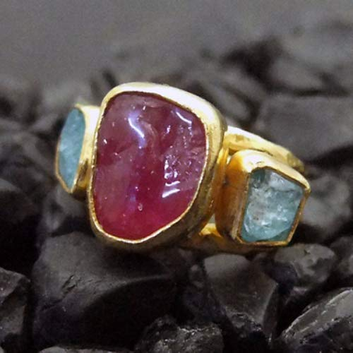Ancient Design Handmade Hammered Rough Ruby And Apatite Ring 24K Gold over 925K Sterling Silver ()
