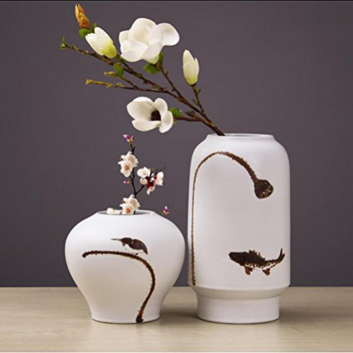 Jingdezhen ceramic vase flower holder living room at home handmade ceramic crafts creative gifts,set