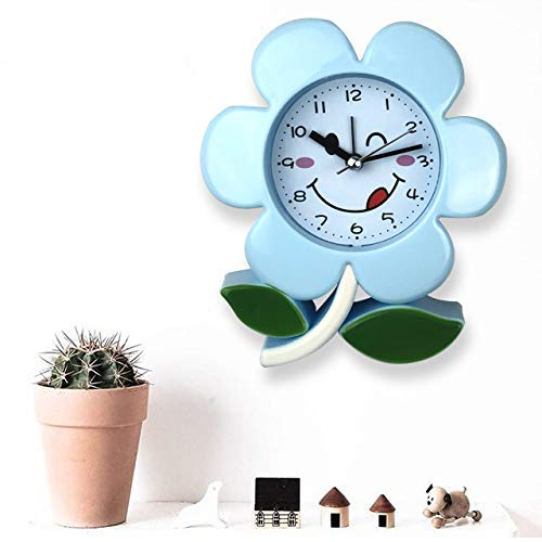 Small Blue Flower Kids Room Alarm Clock Cute Flower Shape Kids Clock for Bedside Adorable Style Clock for Kids and Teen Bedroom
