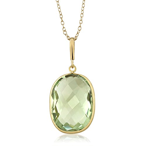 Gem Stone King 9.00ct Green Prasiolite Cushion Cut 14K Yellow Gold Pendant w/ 18inches - Pendant 9k Gold