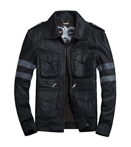 LXTH00o Men's Retro Faux Leather Rider Motorcycle Slim Jacket Black Grey L
