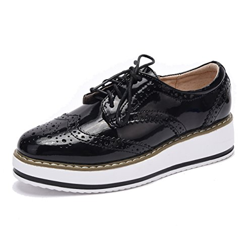 Moonwalker Zapatos con Cordones de Cuero Mujer Oxford Cuña Negro Brillante