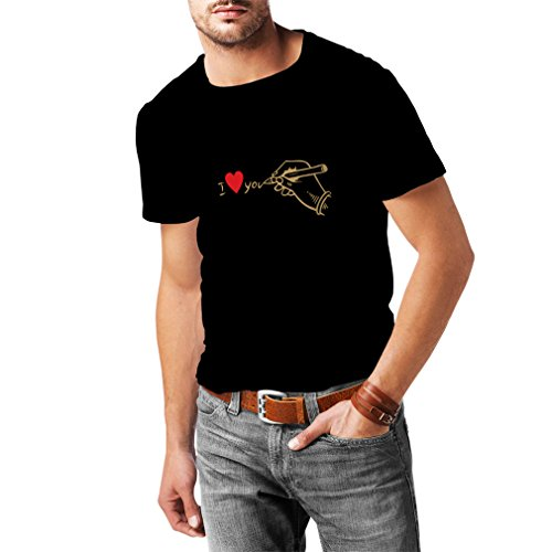 lepni.me Men's T-Shirt I Love You, Perfect St. Valentines Day Outfits (XXX-Large Black Gold) (Gerade Für Die Männer)