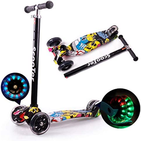 Jipemtra Scooters for Kids 3 Wheel T-bar Balance Riding Kick Scooters Foldable Height Adjustable LED PU Flashing with Graffiti for Kids Christmas Birthday Gift Age 2 14
