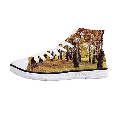 Woodland Decor Comfortable High Top Canvas Shoes,Jungle in The Fall with Yellow Birches and Dry Herb Golden Leaves Warm Weather Photo for Women Girls,US 8.5
